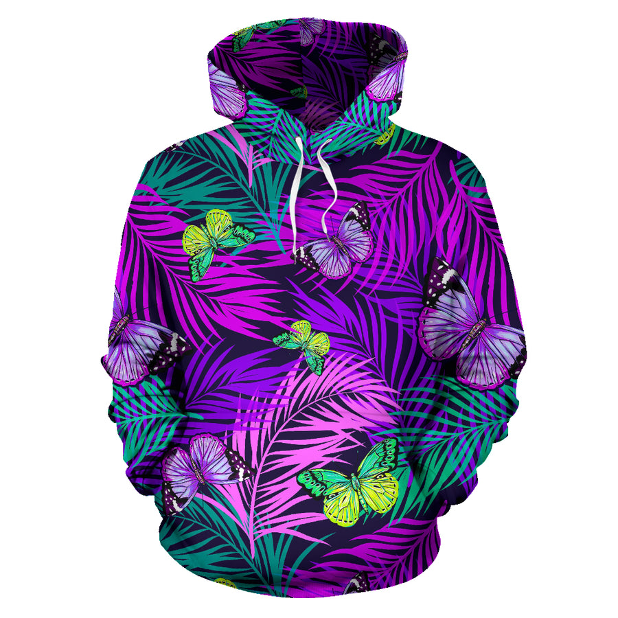 Neon Purple Tropical Palm Tree Butterfly Print Hoodie
