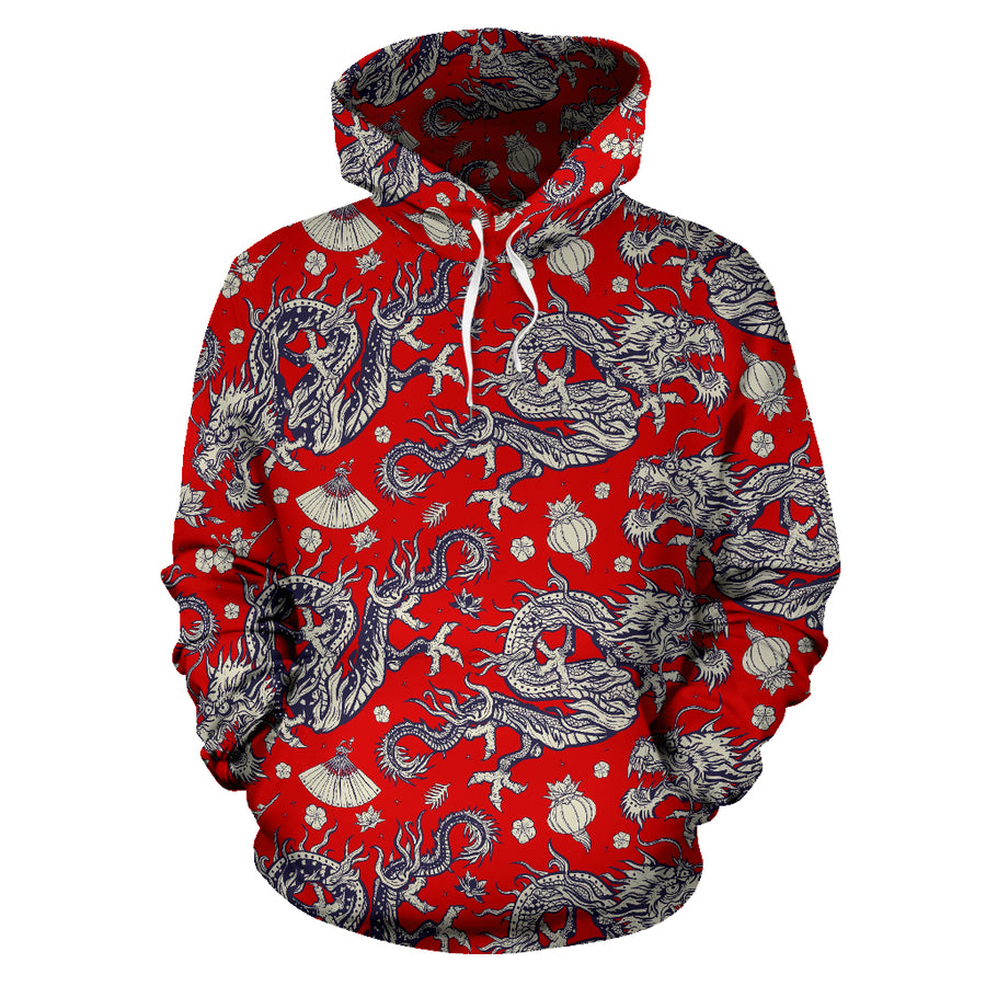 Red Chinese Dragon Floral Print Hoodie
