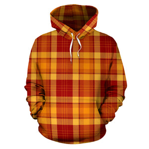 Orange Plaid Tartan Print Hoodie