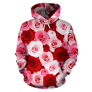 Red And Pink Rose Floral Hoodie