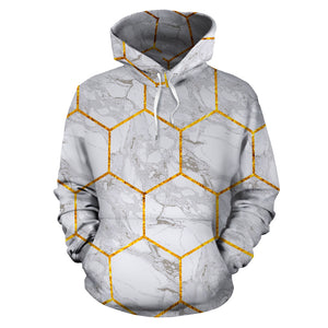 White Gold Tile Marble Hoodie