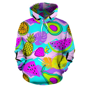 Neon Mix Fruit Pineapple Hawaiian Print Hoodie