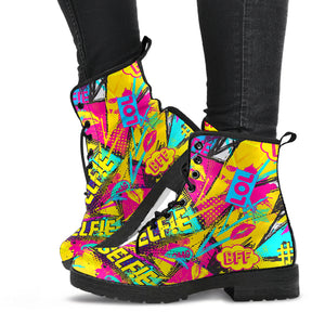Abstract Comic Bubble Graffiti Print Boots