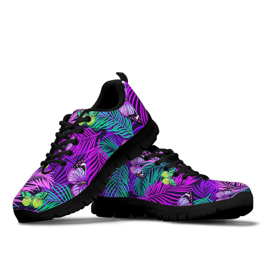 Neon Purple Tropical Palm Tree Butterfly Print Sneakers