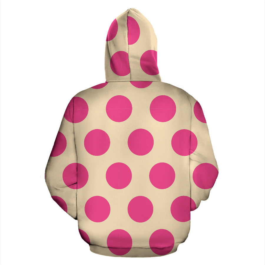 Cream And Pink Polka Dot Hoodie