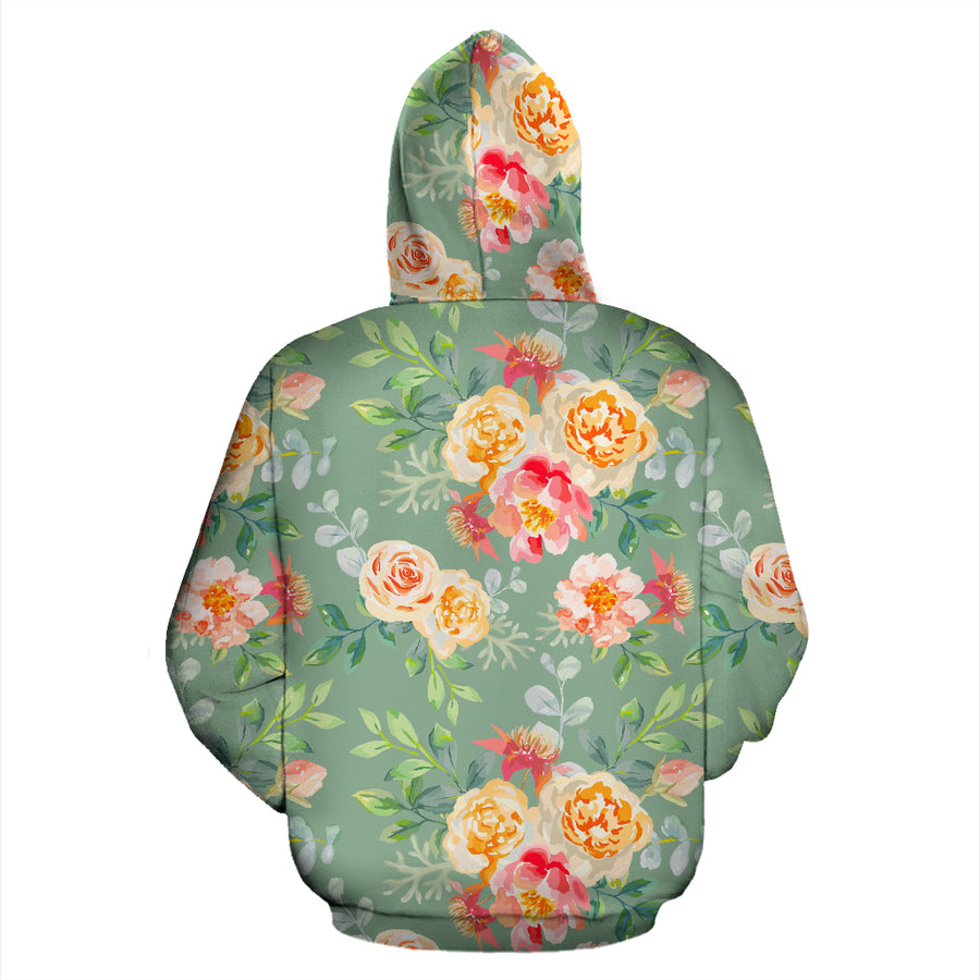 Pink Rose And Peony Floral Hoodie