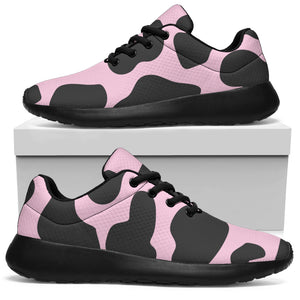 Black And Pink Cow Print Running Shoes