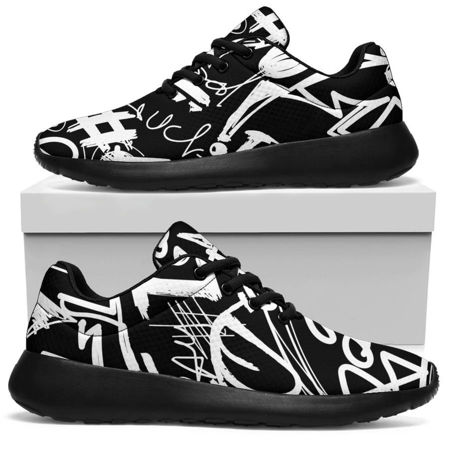 Black And White Graffiti Doodle Text Print Running Shoes