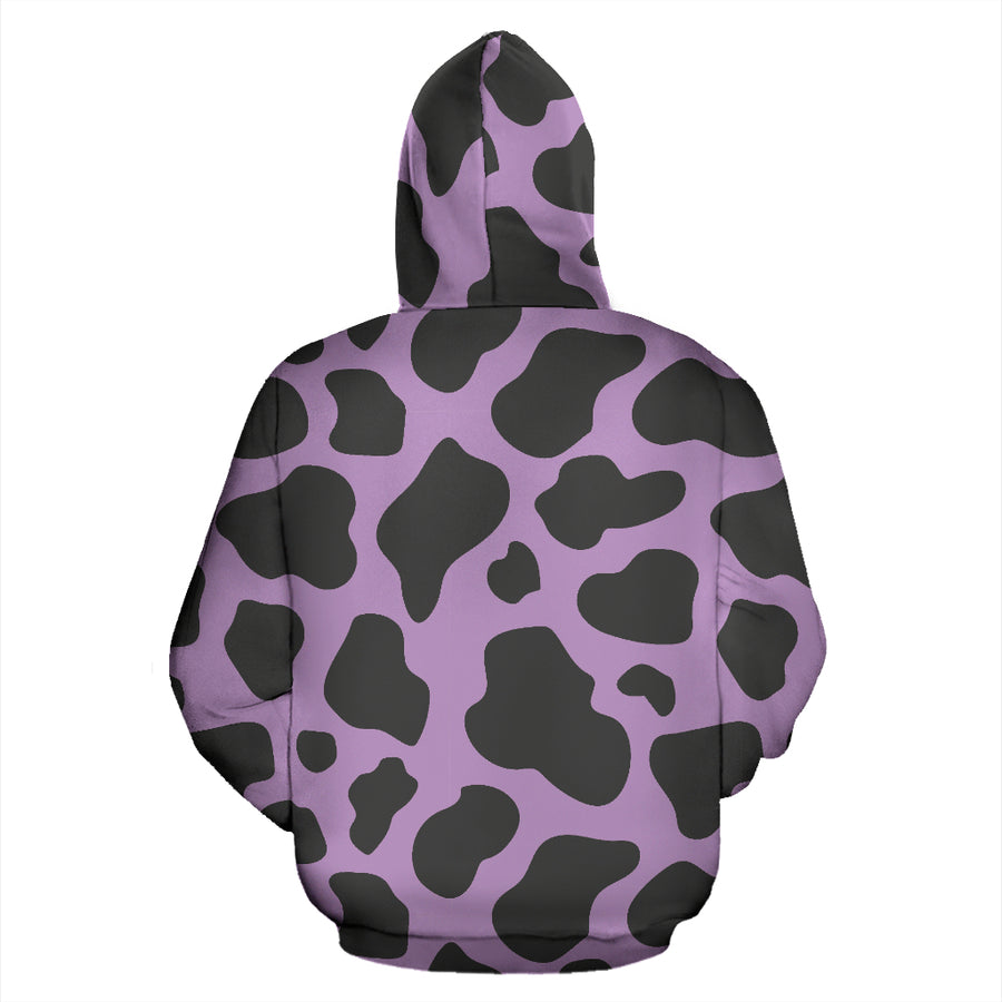 Black And Purple Cow Print Hoodie