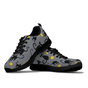 Black Cat Knit Print Sneakers