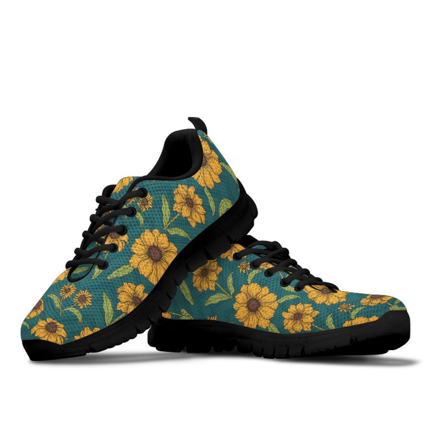 Green Zigzag Sunflower Sneakers