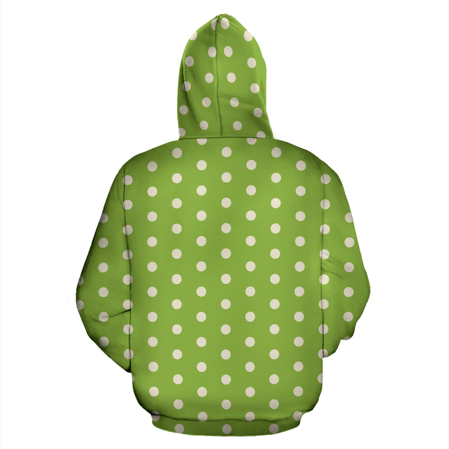 Green And White Polka Dot Hoodie