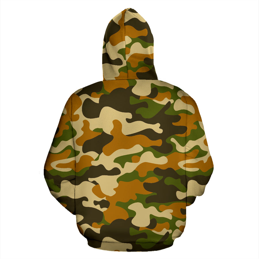 Green And Brown Camouflage Print Hoodie