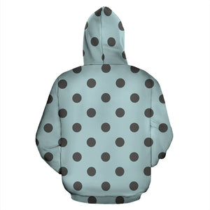 Aqua And Black Polka Dot Hoodie