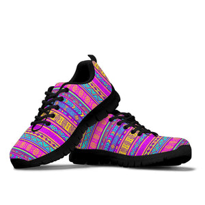 Colorful Neon Tribal Navajo Aztec Print Sneakers