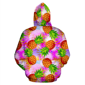 Purple Neon Pineapple Hawaiian Print Hoodie
