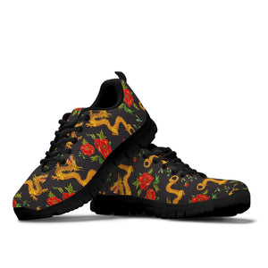 Rose Floral Golden Dragon Print Sneakers