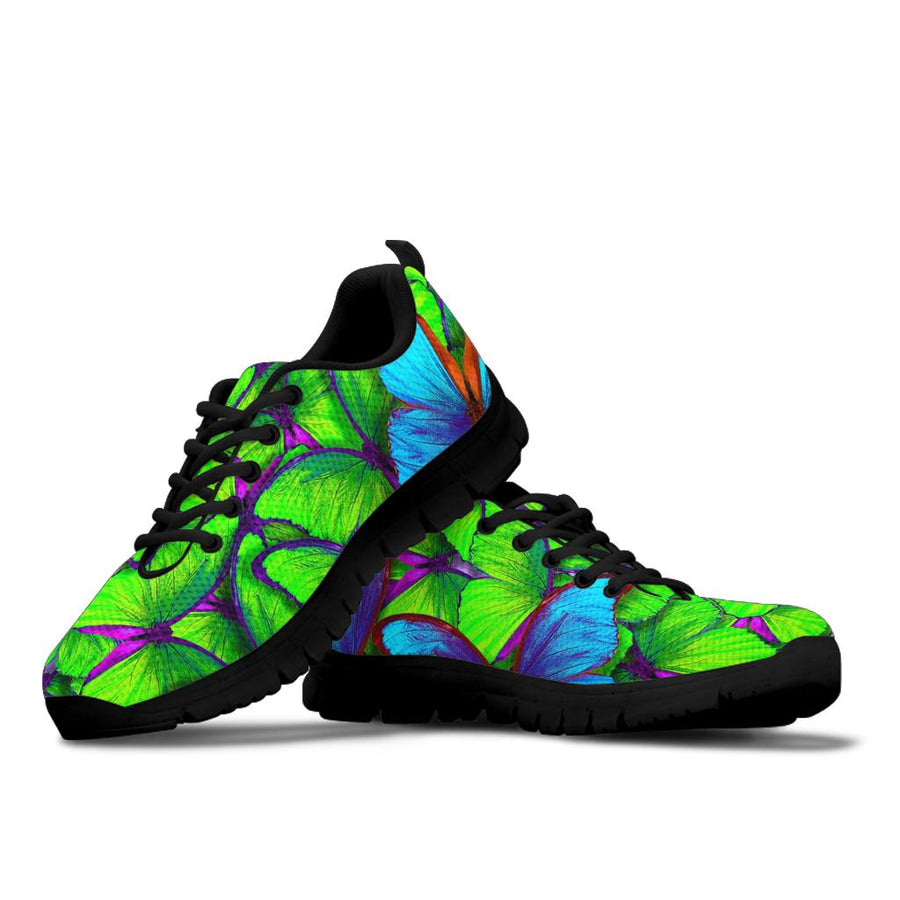 Green And Blue Butterfly Print Sneakers