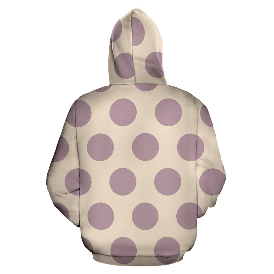 Cream And Brown Polka Dot Hoodie