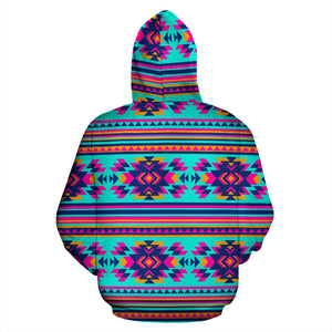 Neon Indian Aztec Abstract Art Print Hoodie