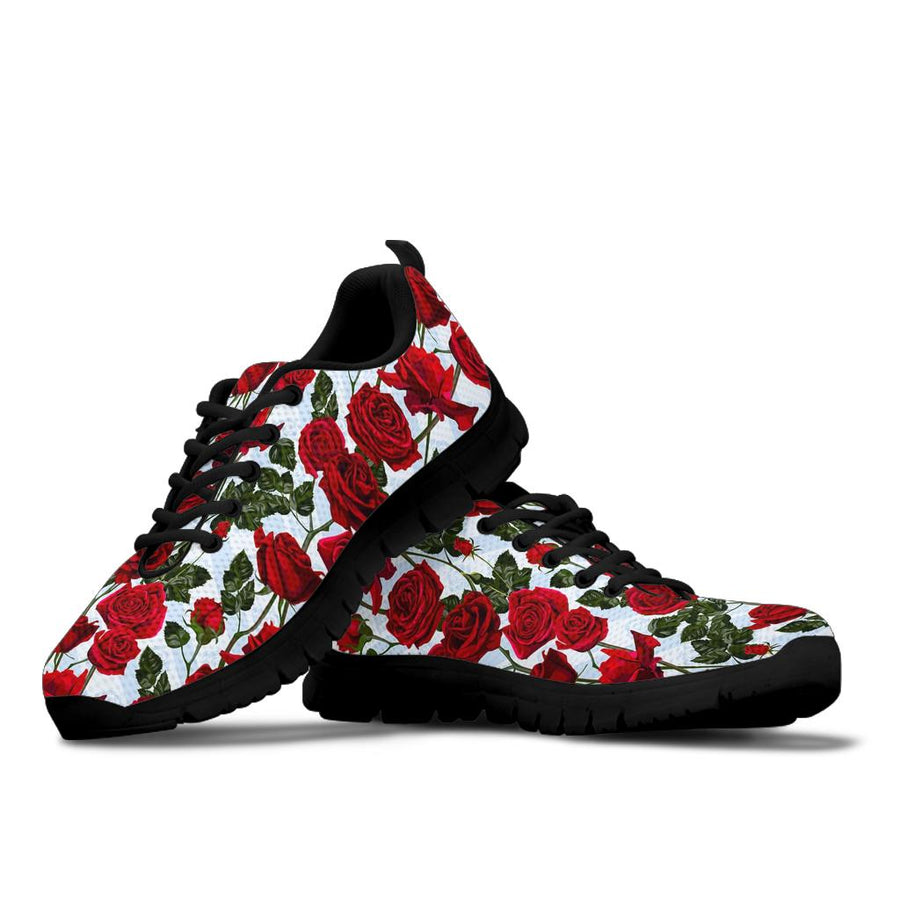Red Rose Flower Print Sneakers