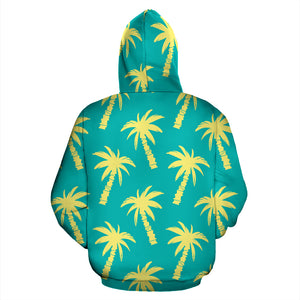 Green Palm Tree Hawaiin Print Hoodie