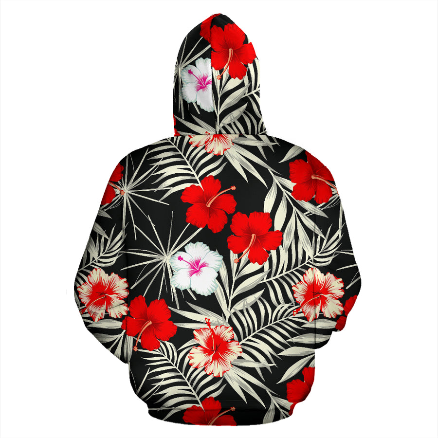 Red And White Hibiscus Flowers Hawaiian Print Hoodie