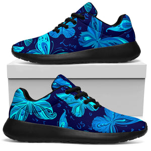 Blue Butterfly Print Running Shoes