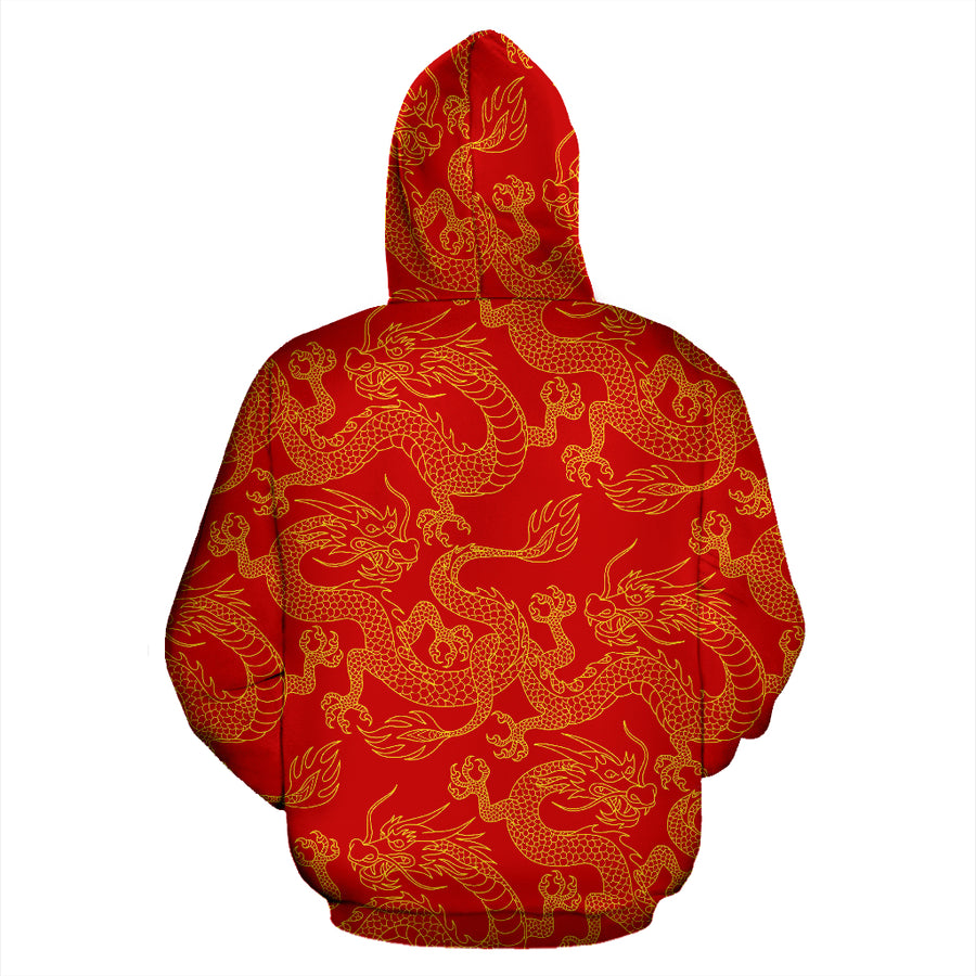 Red Oriental Chinese Dragon Hoodie