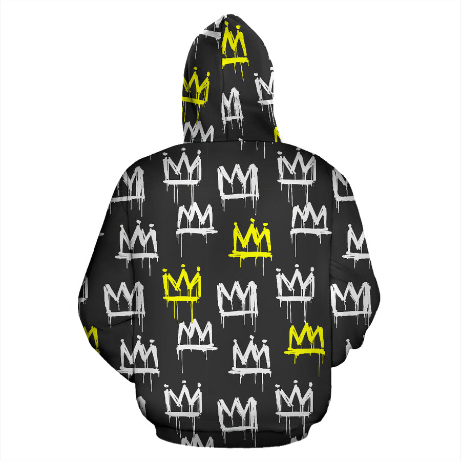 Graffiti Hiphop White And Yellow Crown Print Hoodie