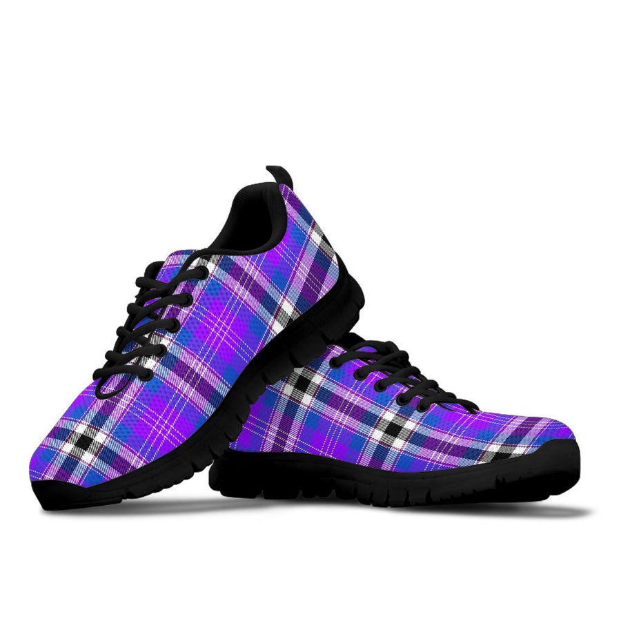 Black Purple Plaid Tartan Sneakers