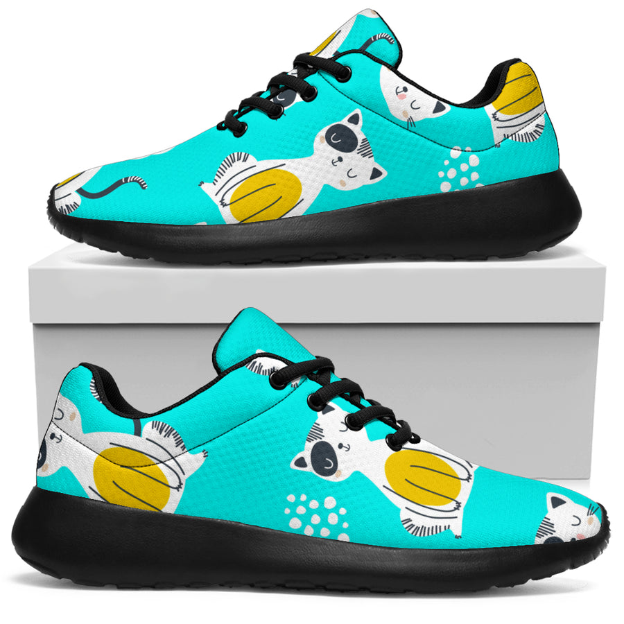 Blue Cat Print Running Shoes