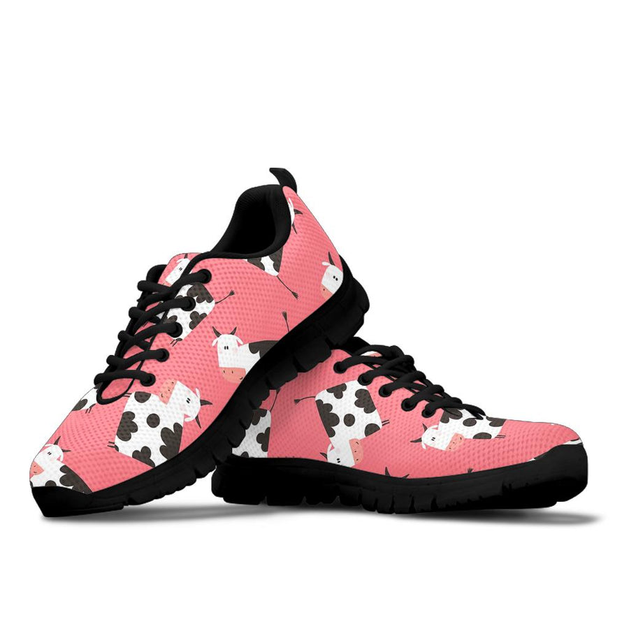 Pink Cow Pattern Print Sneakers