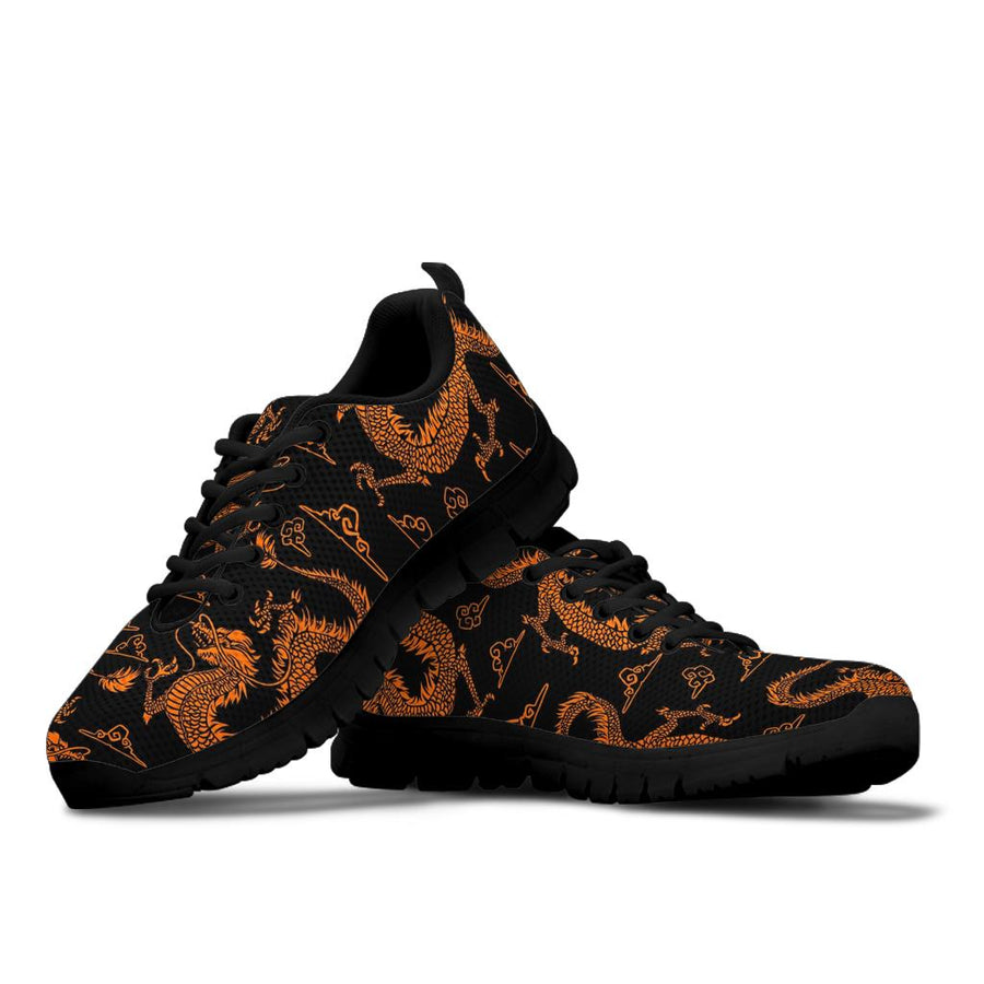 Gold Janpanese Dragon Print Sneakers