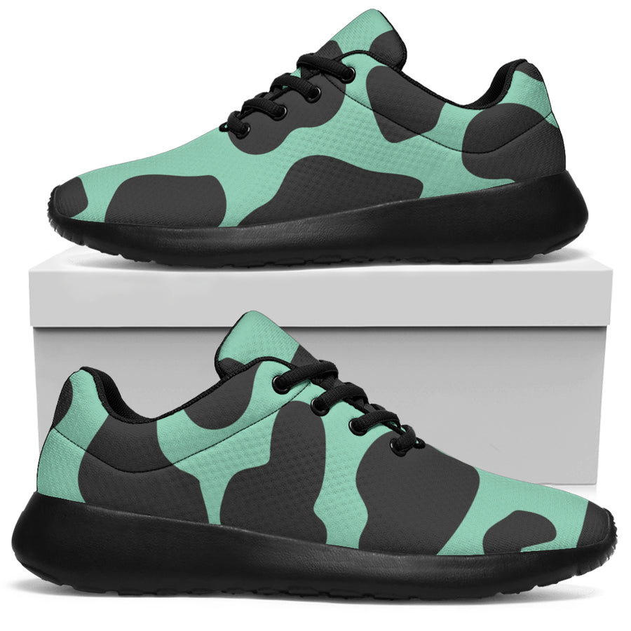 Black And Teal Cow Print Running Shoes
