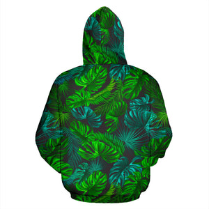Palm Leaf Tropical Print Hoodie