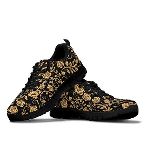 Gold Rose Floral Sneakers