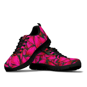 Black Pink Butterfly Print Sneakers
