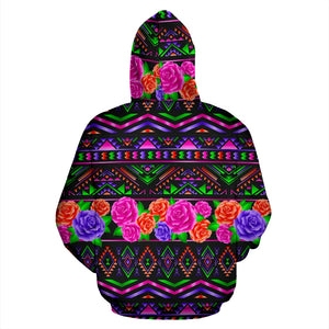 Multicolor Roses Ethnic Tribal Aztec Hoodie