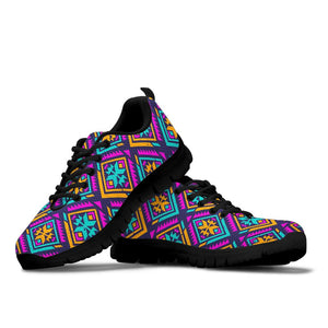 Neon Multicolor Ethic Aztec Grunge Print Sneakers