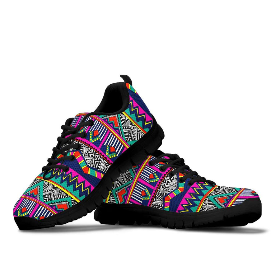 Multicolor Native Aztec Doodle Abstract Sneakers