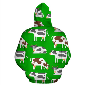 Cow In Green Grass Print Hoodie