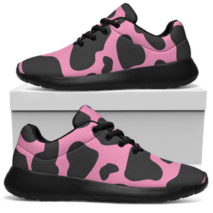 Black Pink Cow Print Running Shoes