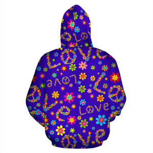 Abstract Floral Hippie Hoodie