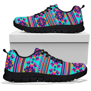 Neon Indian Aztec Abstract Art Print Sneakers