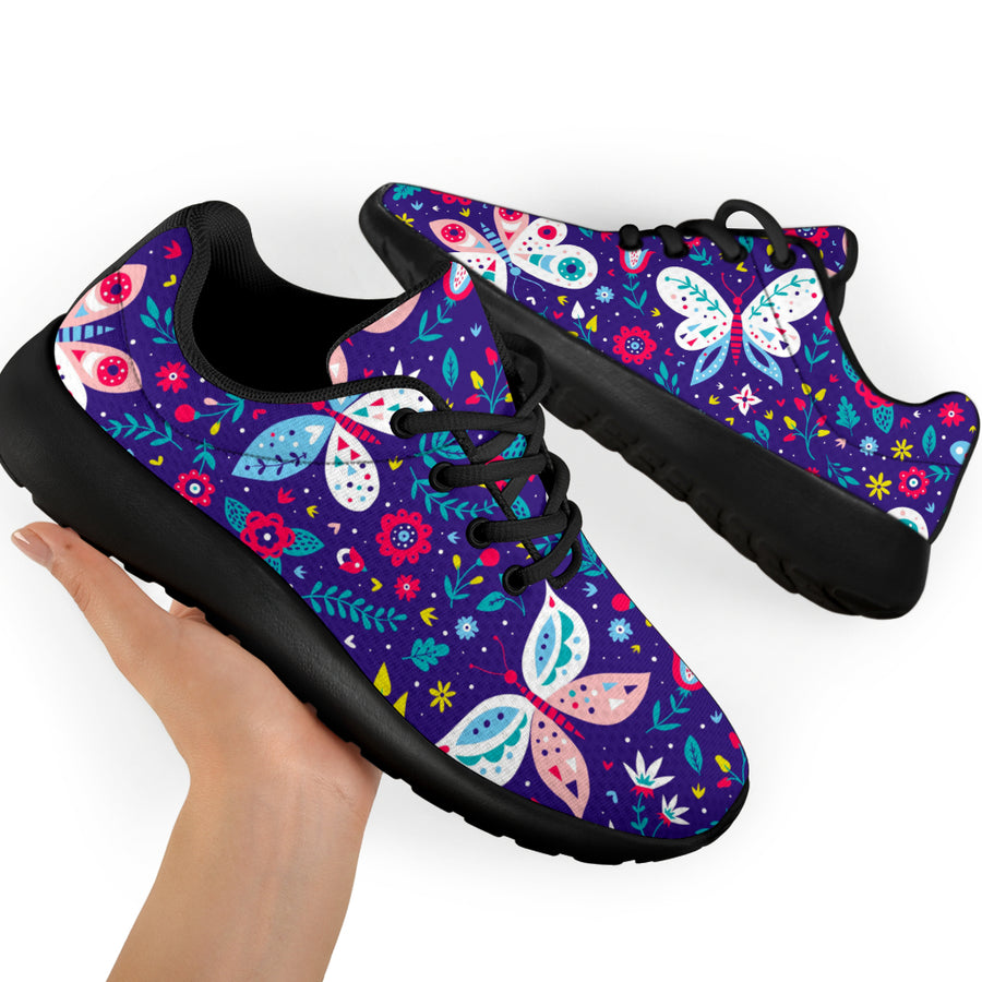 Blue Butterfly Floral Print Running Shoes