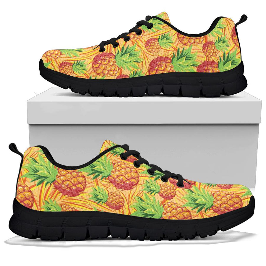 Neon Yellow Pineapple Hawaiian Print Sneakers