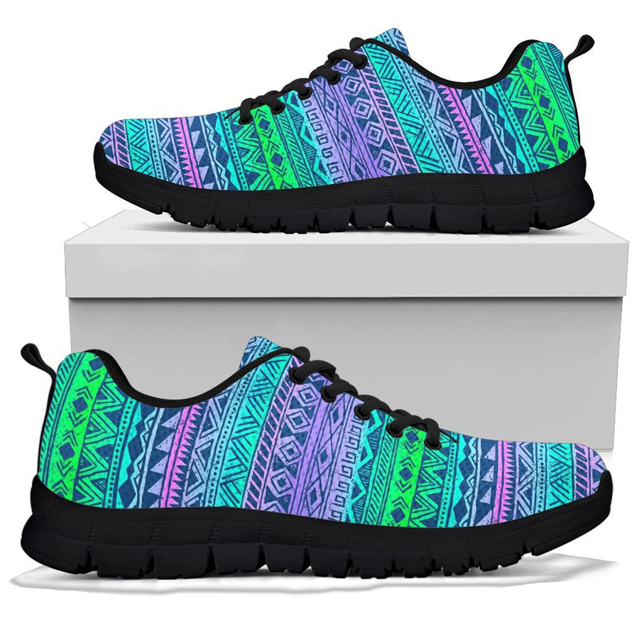Neon Tribal Aztec Hand Drawn Sneakers