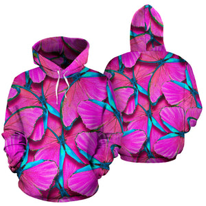 Pink And Blue Butterfly Print Hoodie