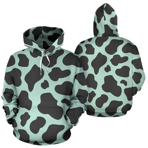 Black And Green Cow Print Hoodie
